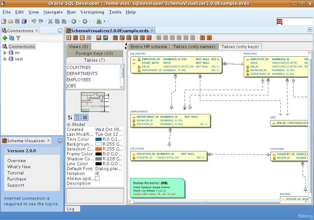 Schema Visualizer allows you to create ERD